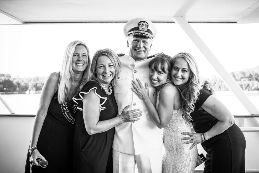 Wedding party with captain