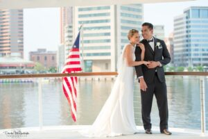 Bride and Groom in Baltimore Harbor