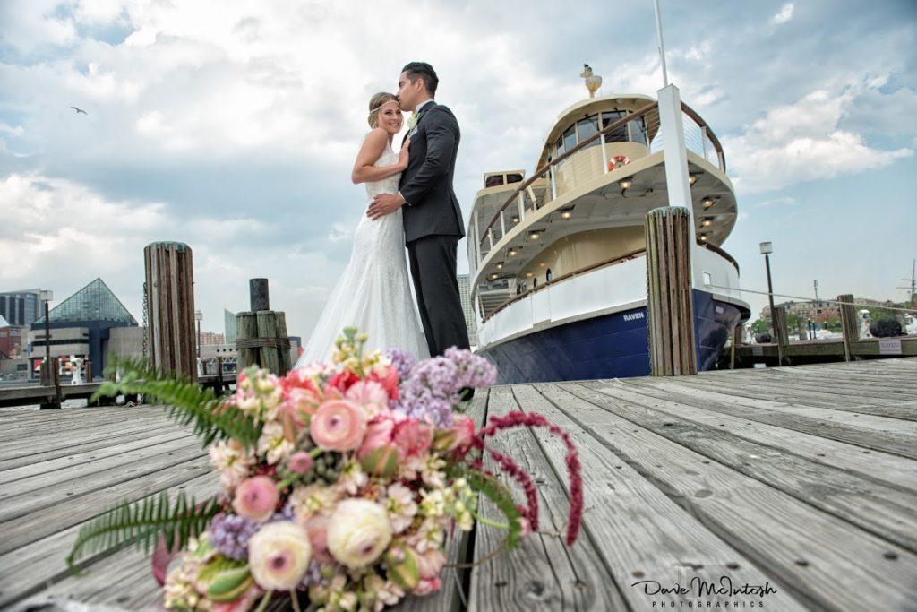 Wedding couple on board The Raven