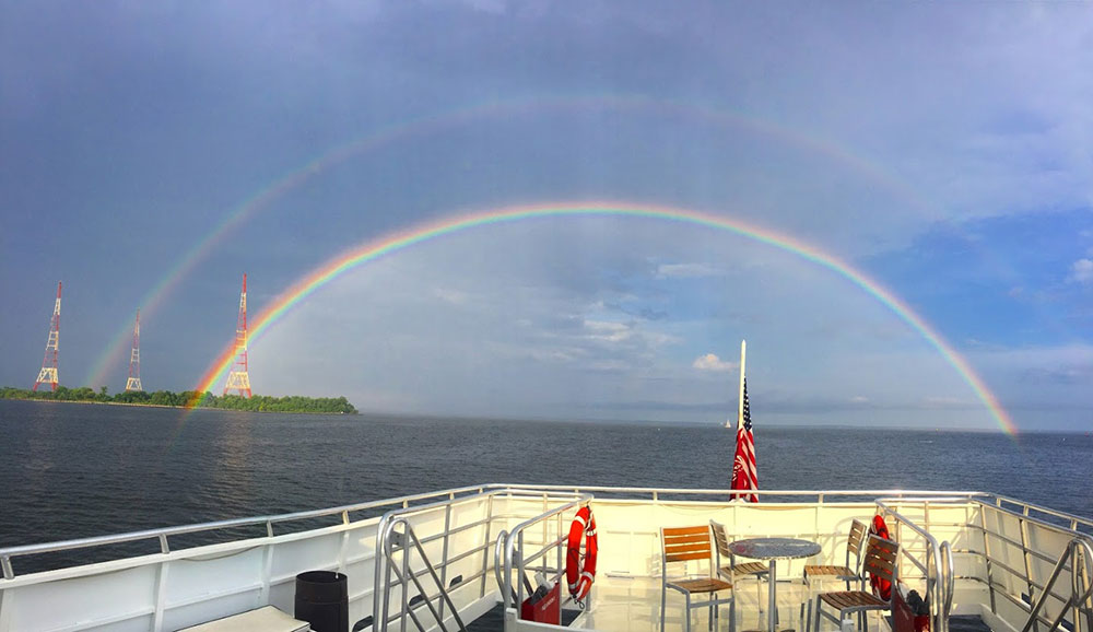 Rainbows can be seen from the deck of Lady Sarah
